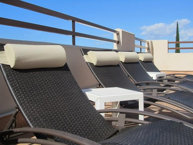 sunloungers on the solarium