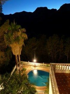 A view at night from one of the many terraces
