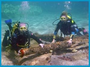 Diving for treasure, 200 year old cannons still on the sea bed