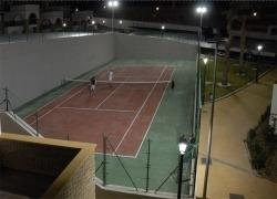 One of the courts by night.