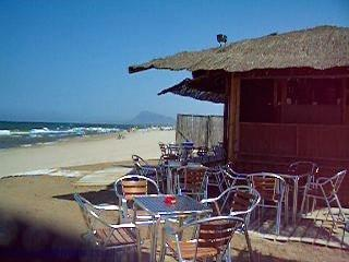 Beach bar on Denia's long fine white sandy beach