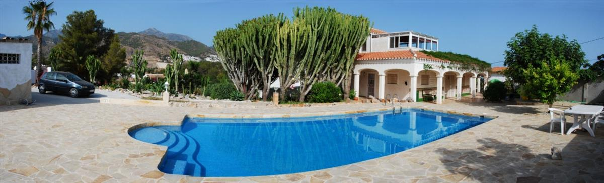 Pool area. Cortijo is at far end of main house