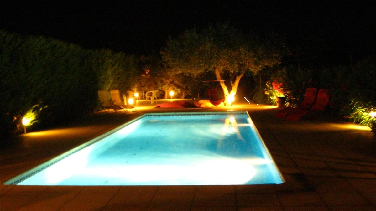 Can Pedra Pool and lights in the evening