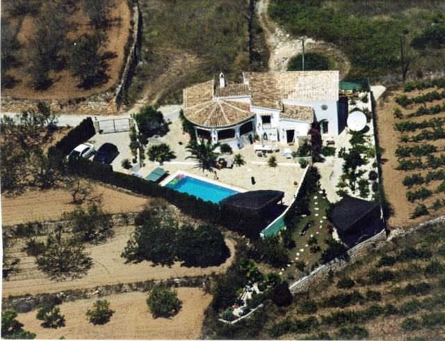 Ariel view of Casa Adelante,with upper and lower terraces & pool