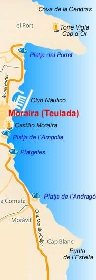 Map Moraira, house is in CAP BLANC