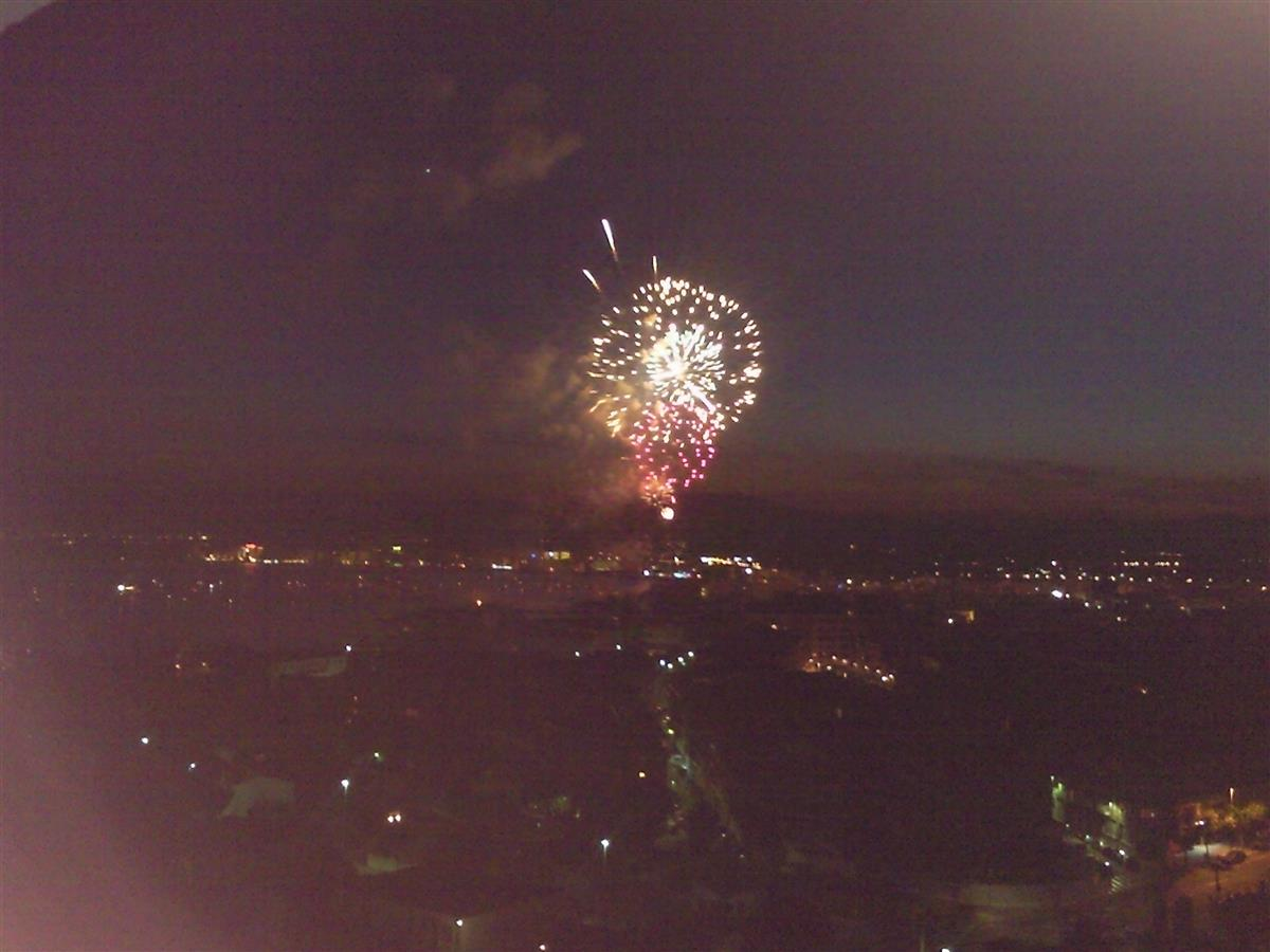 Fabulous view from balcony of festival fireworks.