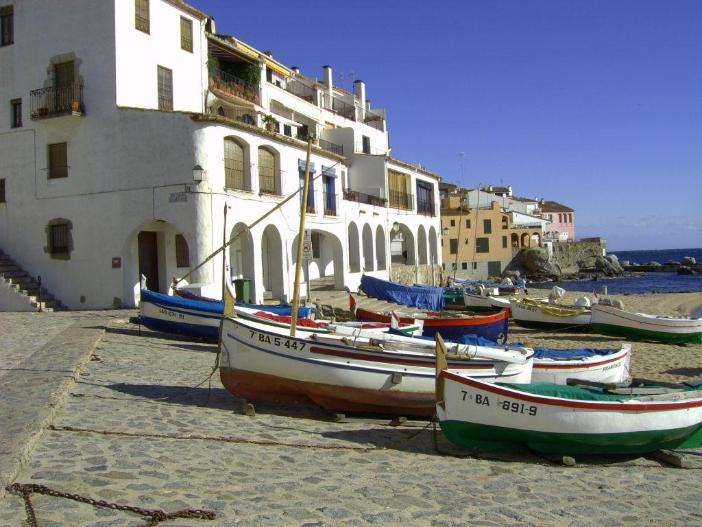 Tipical scene in Calella:the fisherman's boats on the beach.