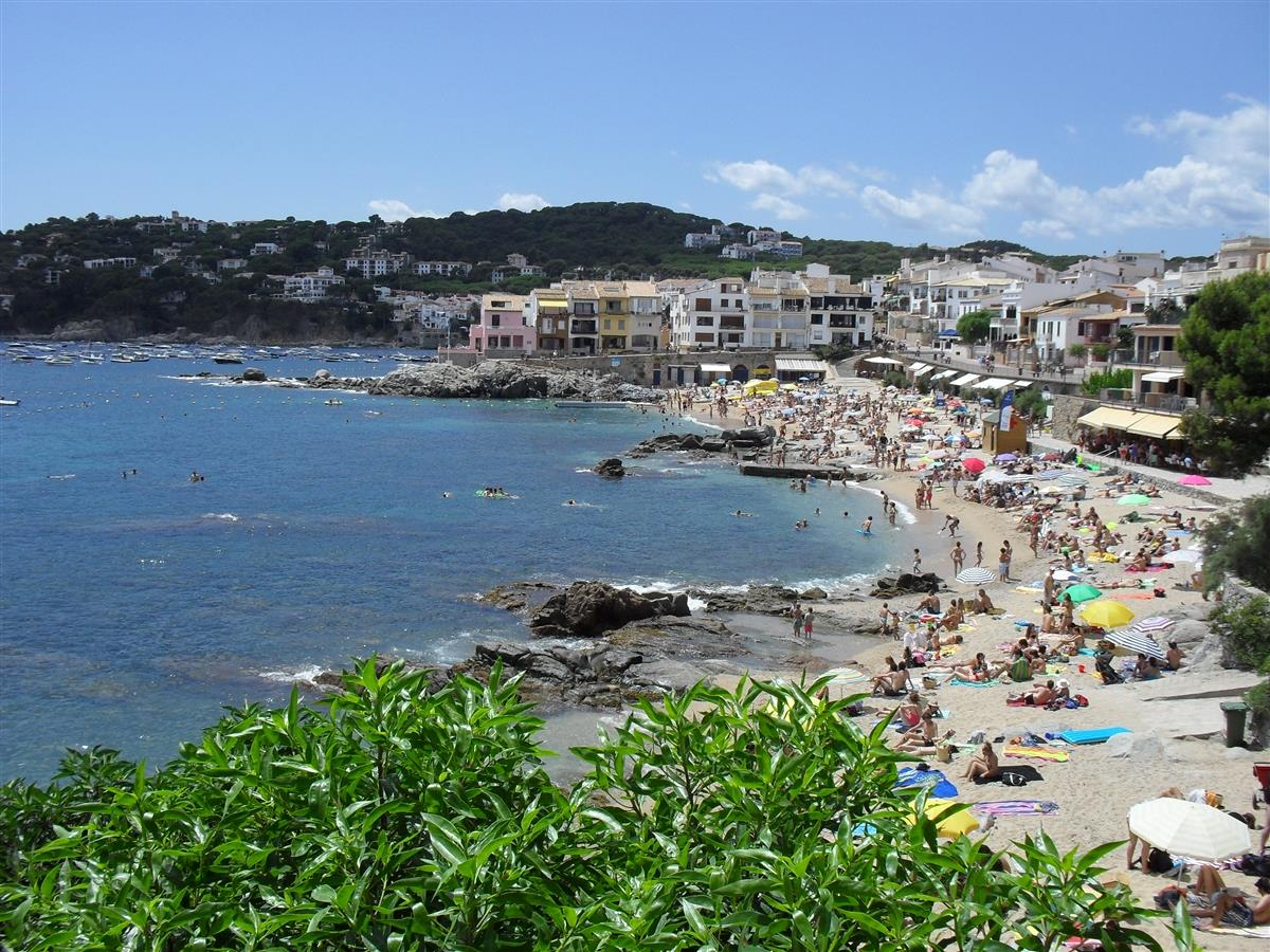 One of the nice beaches of Calella in summertime