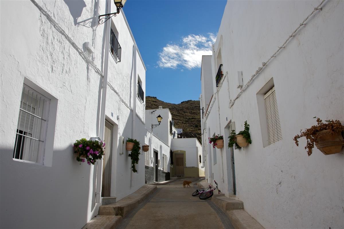 Lucainena is a maze of white houses and quiet streets where...