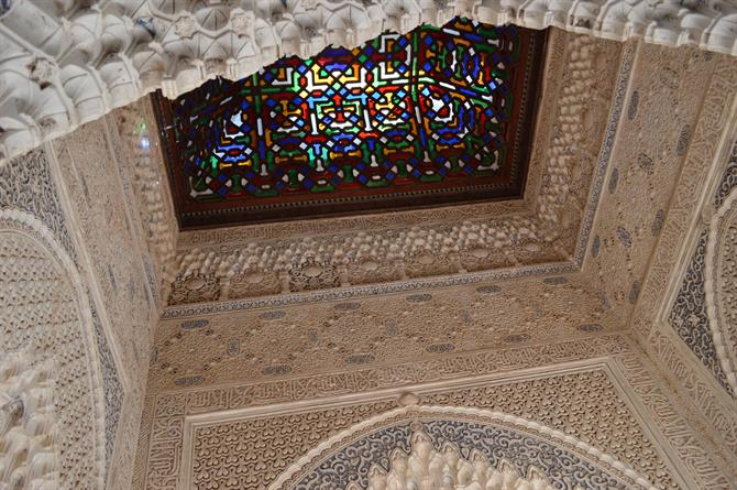 Stained glass on roof of Alhambra