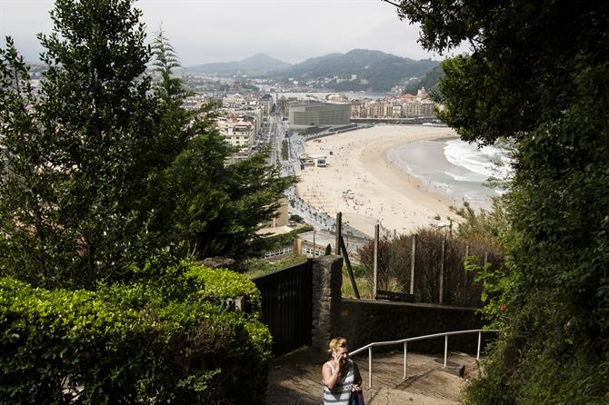 View of Zurriola beach from Ulía, San Sebastián