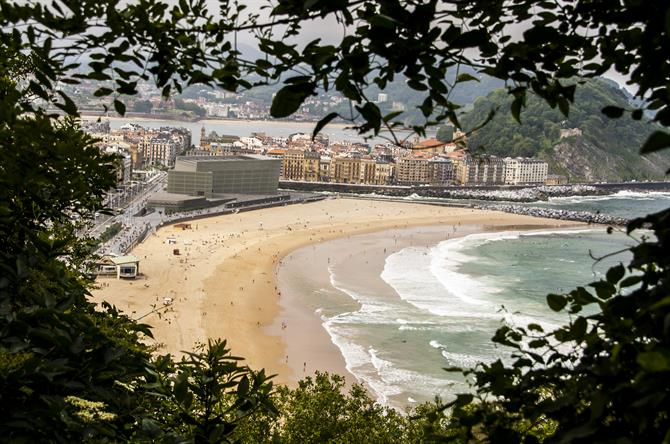 Overlooking the beach Zurriola, San Sebastian, Basque Country