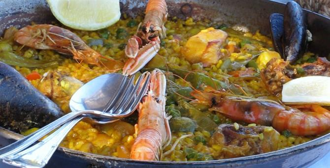Seafood paella at Restaurante Mena in Denia