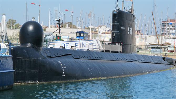 S-61 Delfin submarine floating museum in Torrevieja