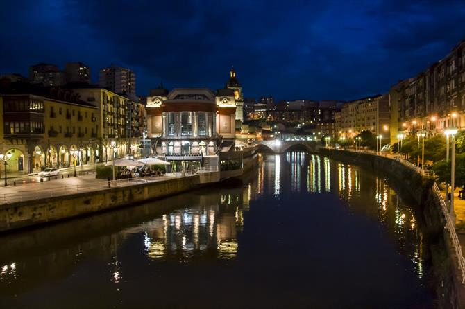 Mercado de la Ribera along the Nervión river in Bilbao