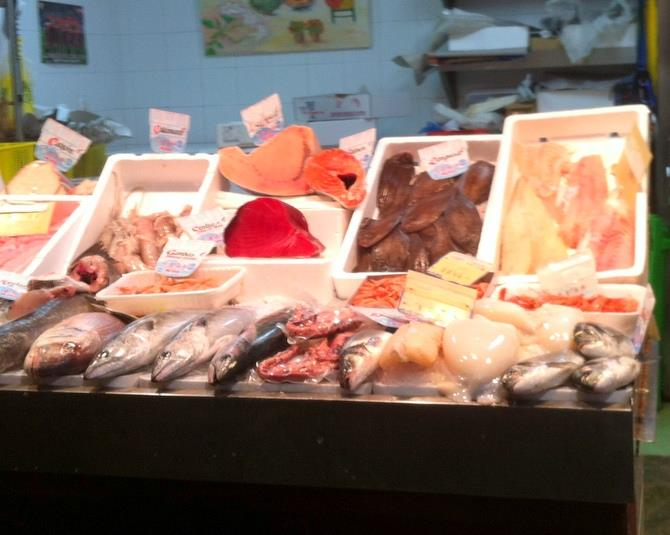 Typical fish market stall