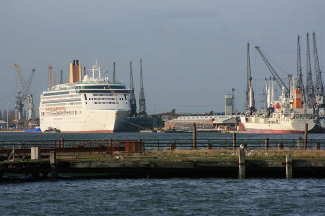 Plymouth port with ferry