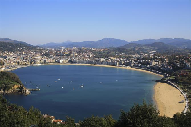 View over the Concha bay with the Concha beach, in the lower right corner you can see the Ondarreta beach