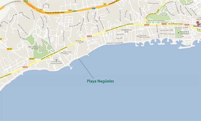 Playa Nagueles Marbella map