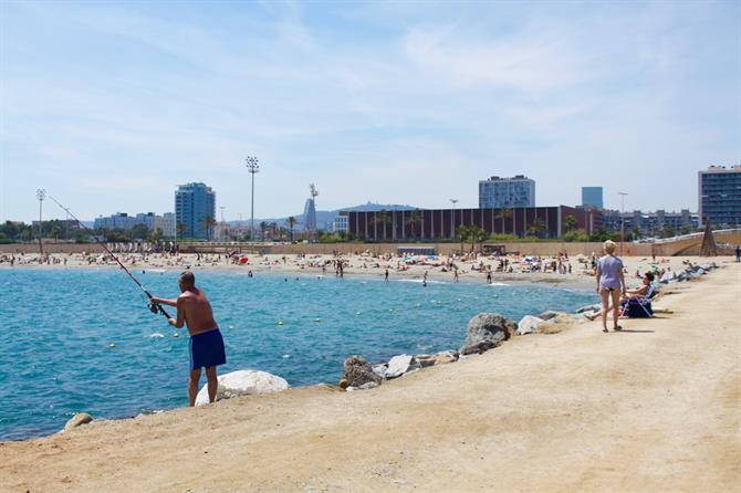 Barcelona beach fishing