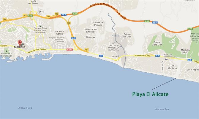 Playa de Alicate map