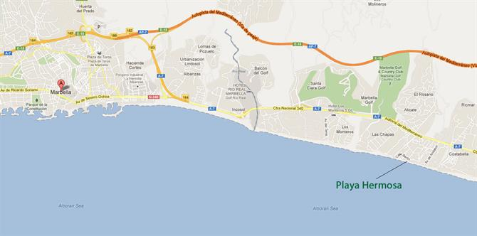 Playa Hermosa Marbella map