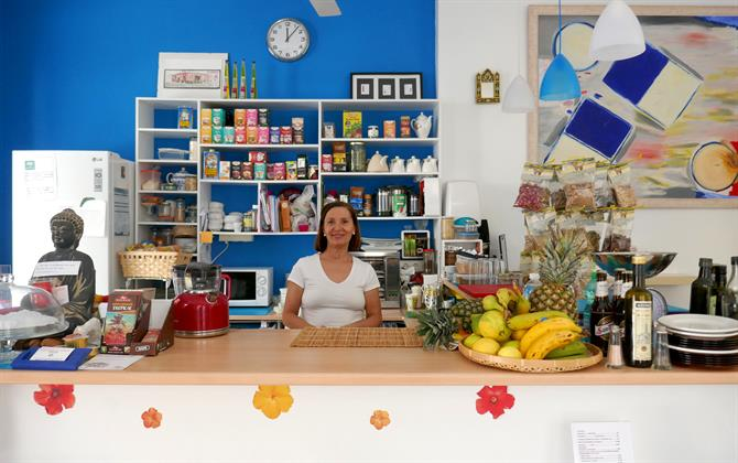 Lola, the owner of El Karmem Yoga Cafe, Malaga