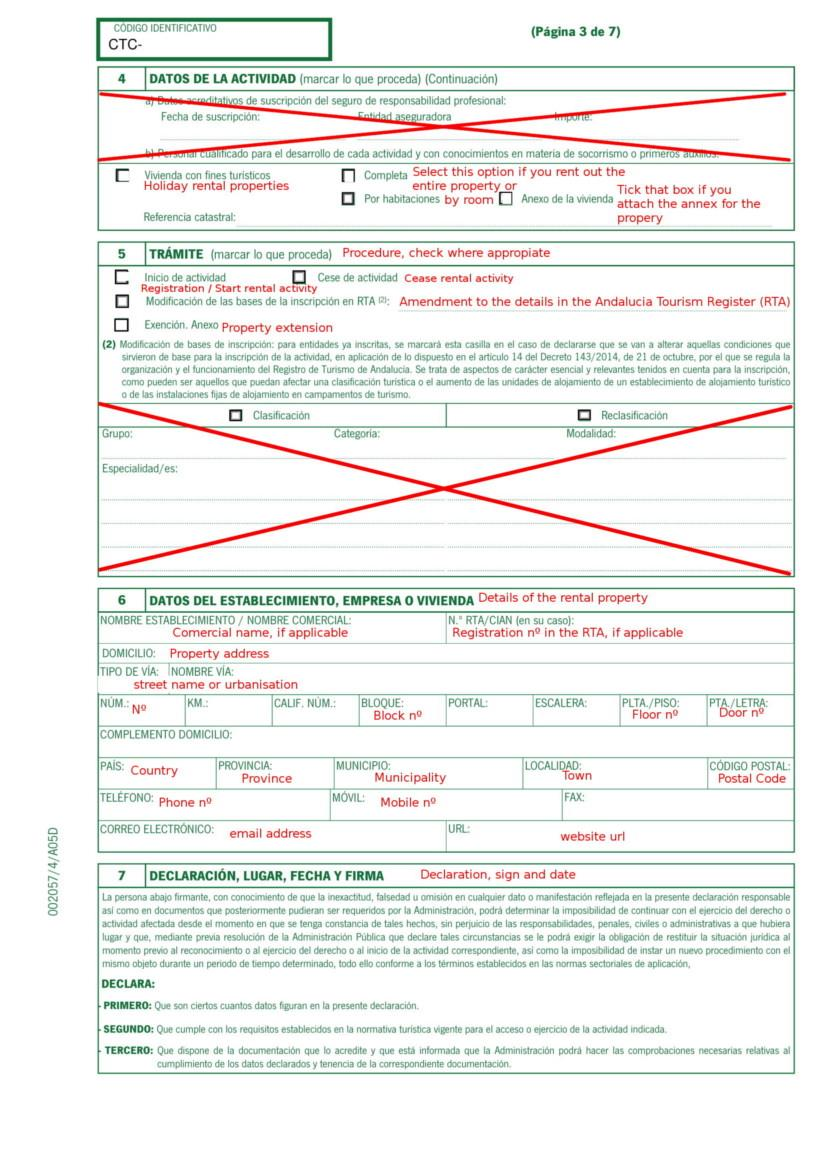 Holiday Rental Application Form Andalucia pg 3