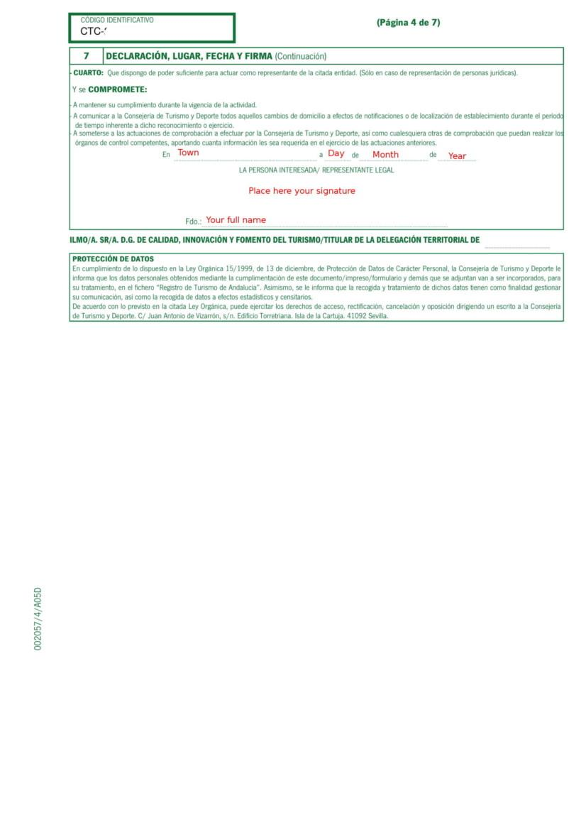 Holiday Rental Application Form Andalucia pg 4