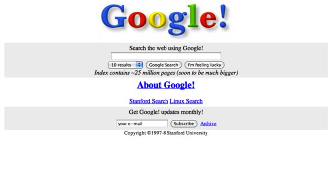 Google 1st website 1998