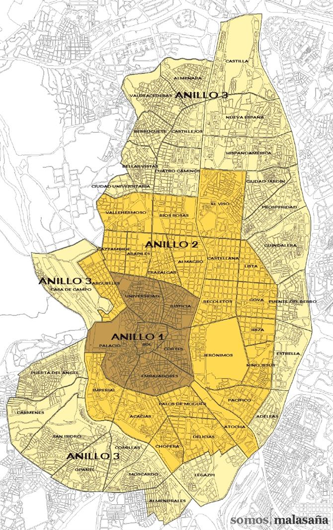 Map - Madrid zonification for tourist zones