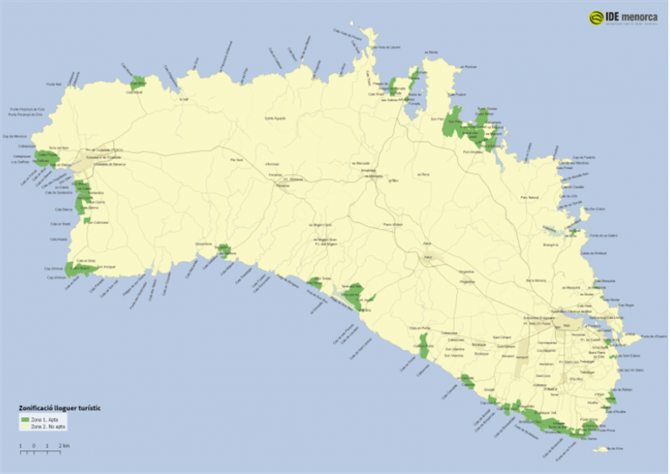 Tourist zones in Menorca