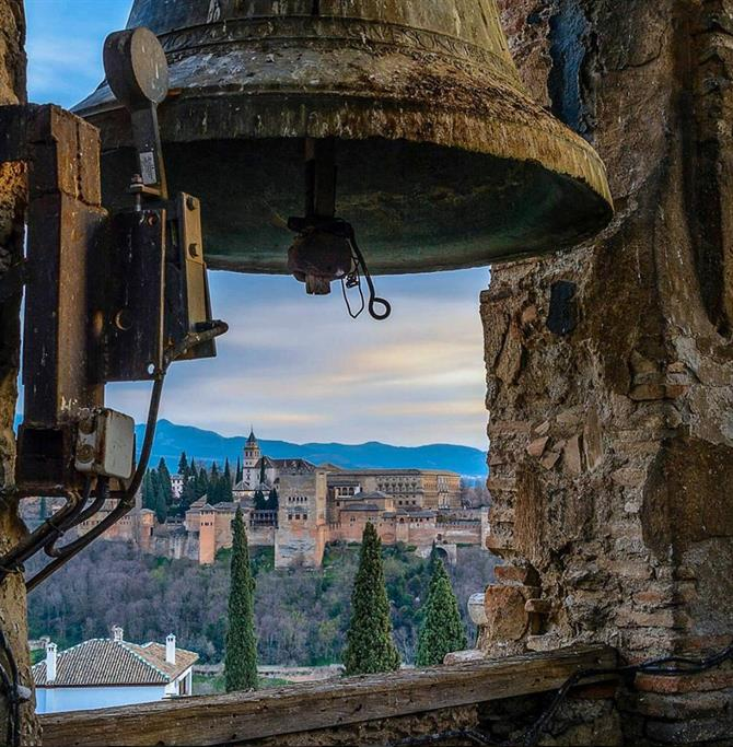 View of the Alhambra in Granada from the Bell Tower of El Salvador