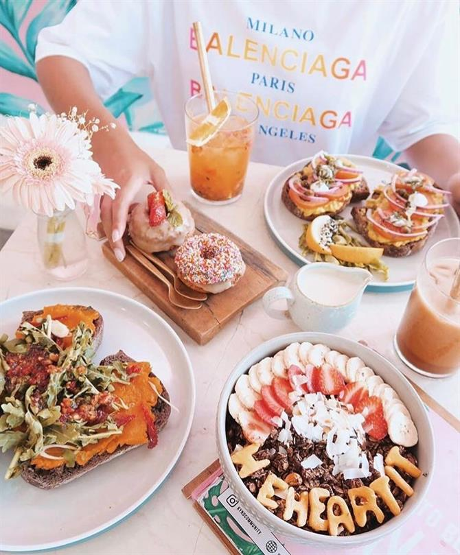 Cafe with colorful food