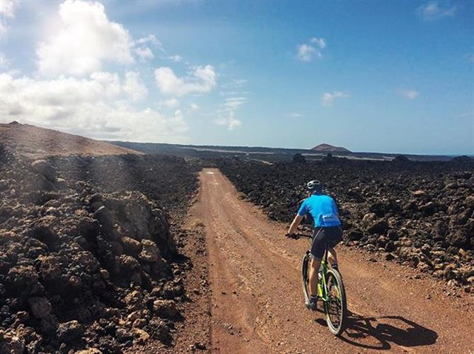 Mountain biker in Timanfaya