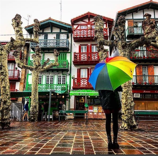 Hondarribia, Colourful houses, Guipuzcoa
