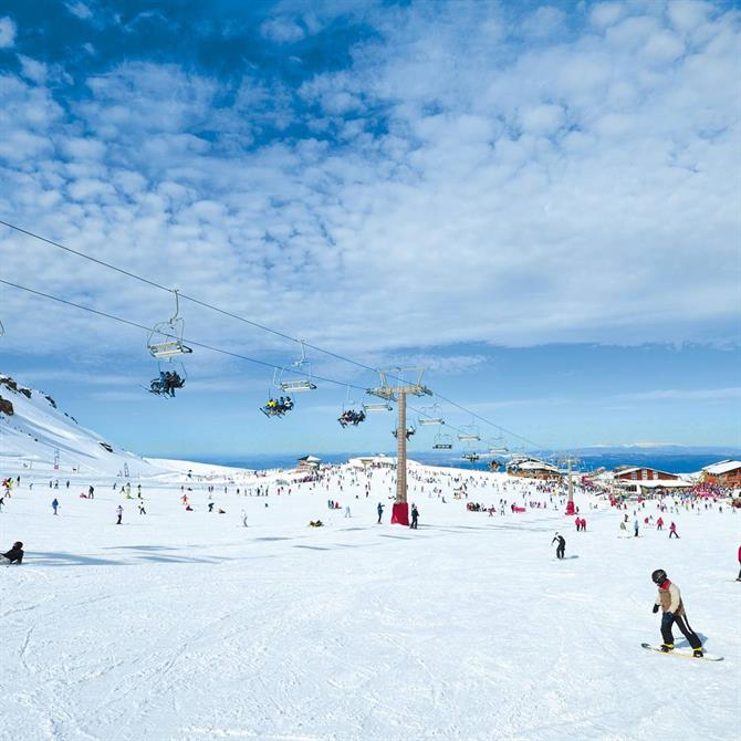 Ski lift and slopes in the Sierra Nevada, Granada