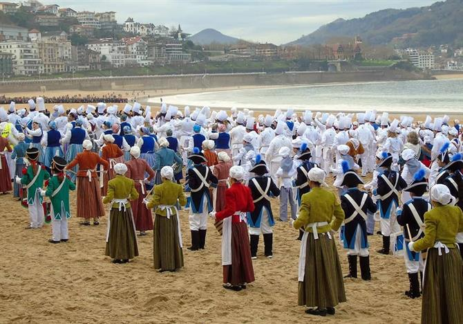 Celebration of Tamborrada on the beach in San Sebastián