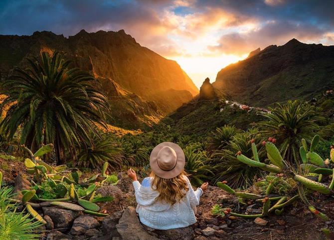 Girl enjoying the sunset at Masca in Tenerife