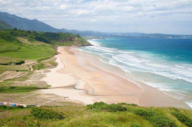 Beach of La Vega near to Ribadesella village in Asturias
