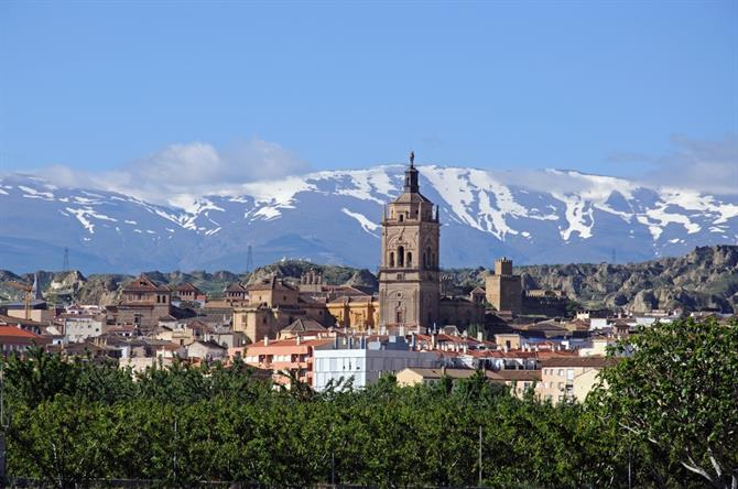 View of Cathedral and snow-capped mountains in Guadix