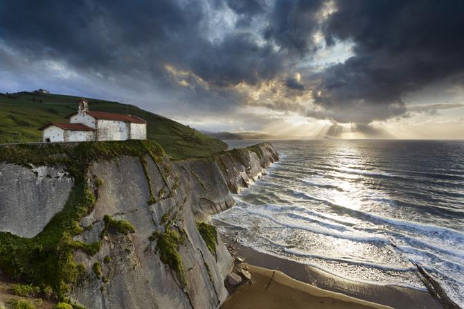San Telmo church in Zumaia, with Itzurun beach