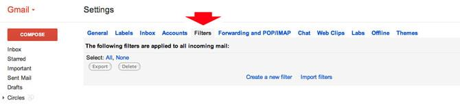 Email filter settings