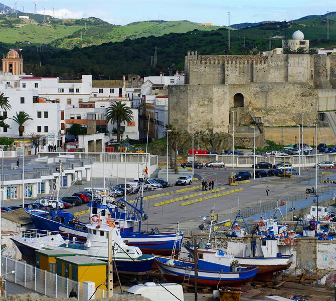 Fortress and harbor scene in Tarifa, Andalusia