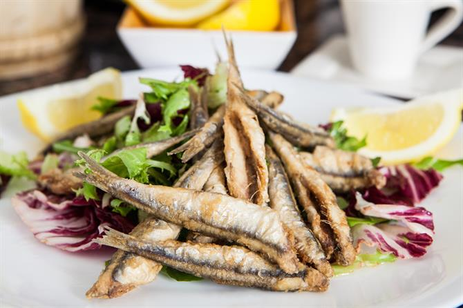 Boquerones fritos - fried anchovies Malaga