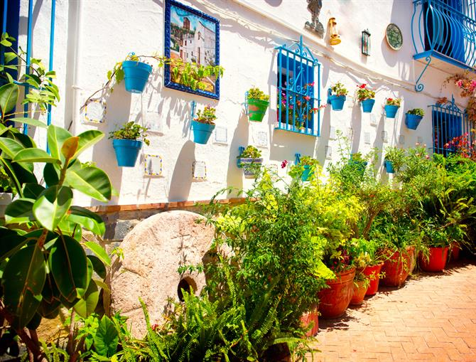 White-washed house in Torremolinos decorated with plants