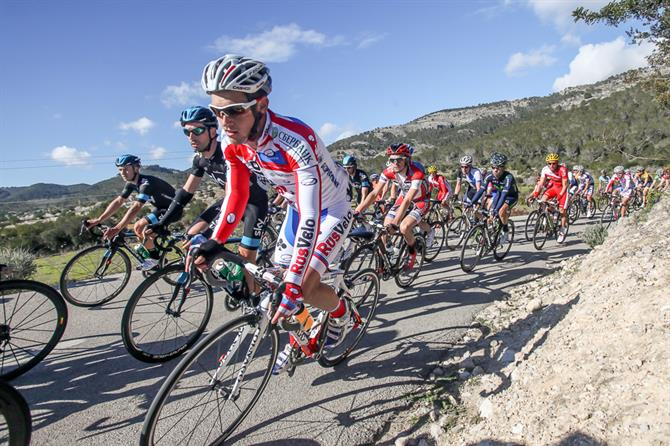 Professional cyclists on a Mallorcan mountain