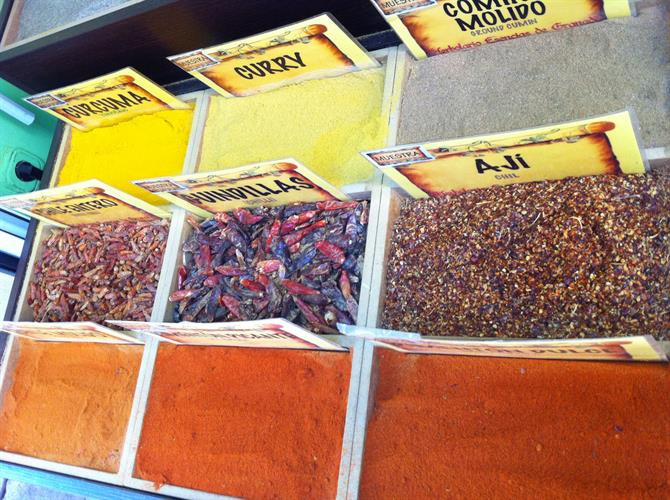Colourful spices by Granada Cathedral Spain