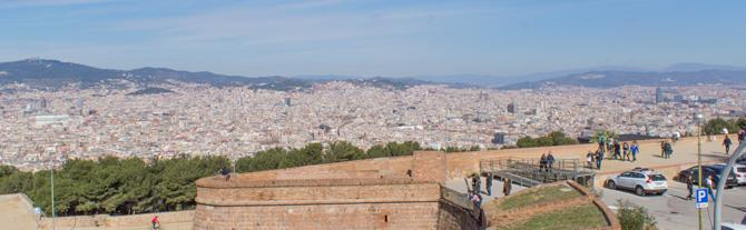 Wide view of Barcelona from Montjuic Castle