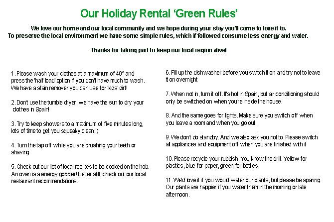 Holiday rental green rules